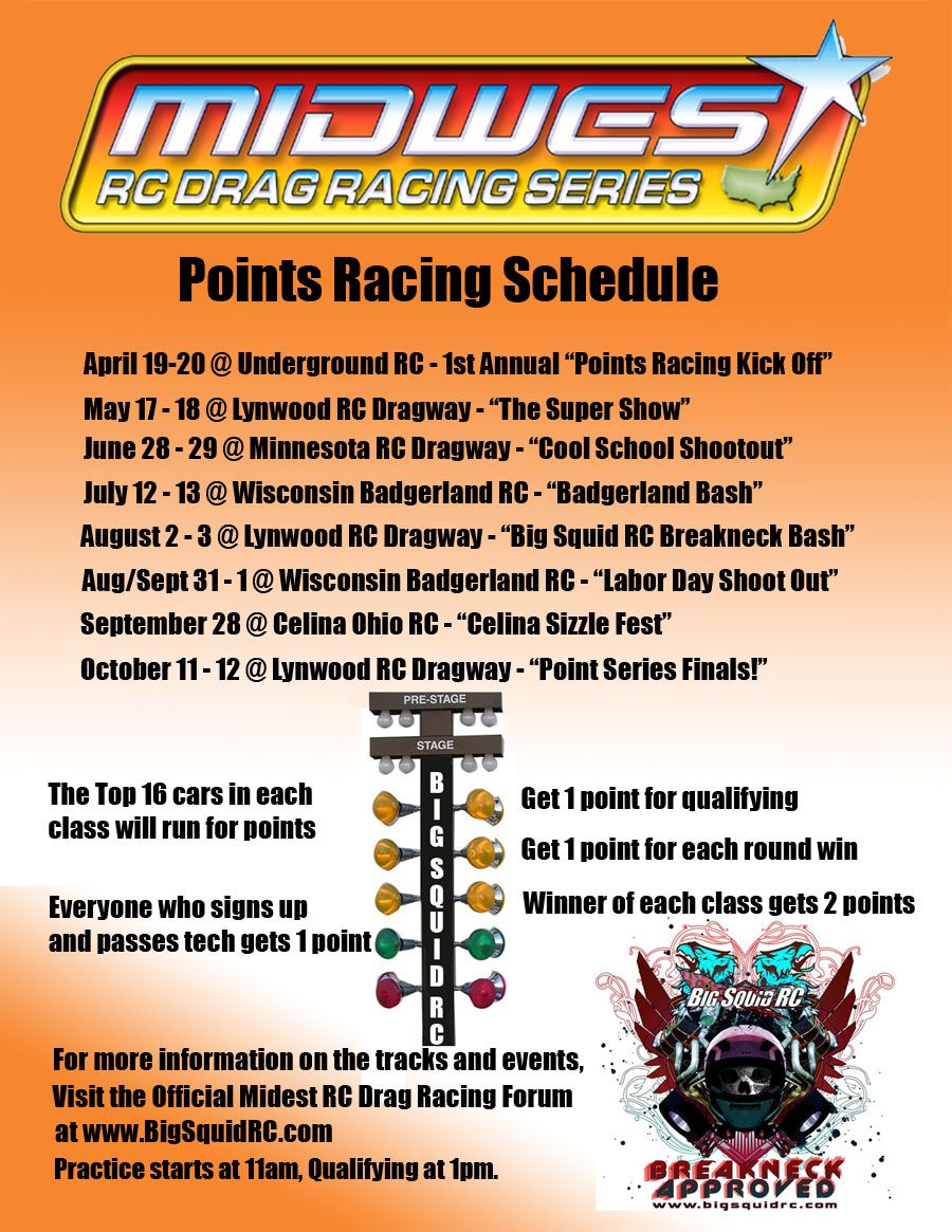 Events: RC Drag Racing, RC Monster Truck Bashes, and more