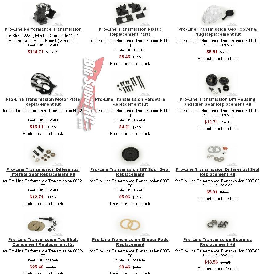 pro-line performance transmission parts