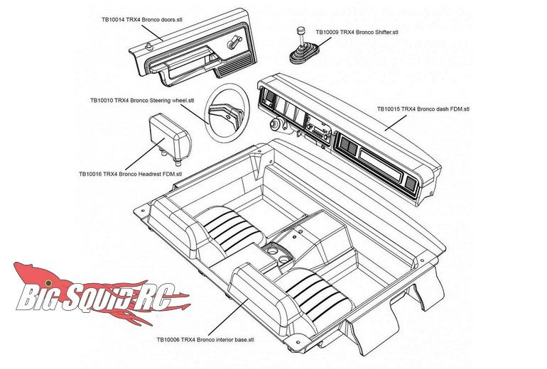 Knight Customs TRX4 Bronco Scale Interior 3D Printer Plans