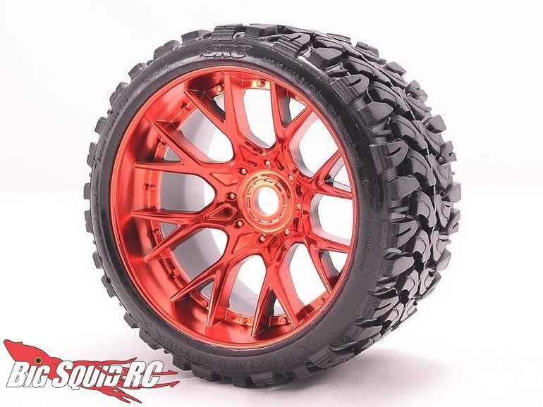 Sweep Racing RC Belted Monster Truck Tires Chrome Wheels